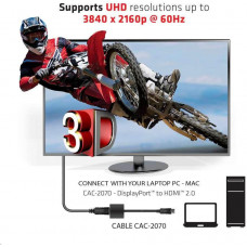 Club 3D Club3D Adaptér aktivní DisplayPort 1.2 na HDMI 2.0 4K60Hz UHD, 20cm