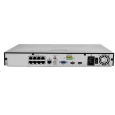 Uniview NVR, 8 PoE (Max 130W) kanálů, H.265, 2x HDD, 12Mpix (80Mbps/160Mbps), HDMI, VGA, 1x USB