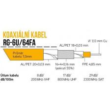 Lexi-NET Koaxiální kabel RG-6U/64FA 7 mm, trojité stínění, impedance 75 Ohm, PVC, bílý, cívka 305m