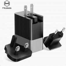 Mcdodo Cube Series 3 USB Ports Charger (US/UK/EU plug) Black