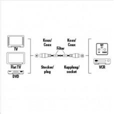 Hama anténny kábel 120 dB, 3 m, pozlátený, feritové filtre, opletený, kovové vidlice