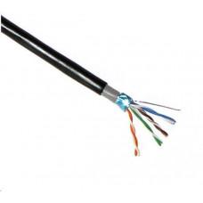 Planet FTP kabel PlanetElite, Cat5E, drát, dvojitý venkovní PE+PVC, Dca, černý, 305m, cívka