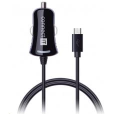 Connect IT auto adaptér 1x micro USB 2,1A, 1,5m rovný kabel, černý
