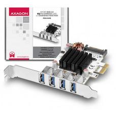 AXAGO  PCEU-43VQ, HQ PCIe adapter 4x USB3.0, UASP, nabíjení 3.8A, VIA + LP