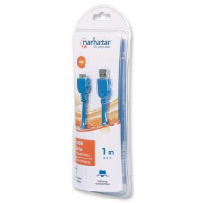 Manhattan Kabel USB 3.0 A Male / Micro B Male, 1 m, modrý