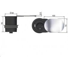Solight 1x vestavná zásuvka + 1x USB s posuvným víčkem, oválný kryt z broušeného hliníku