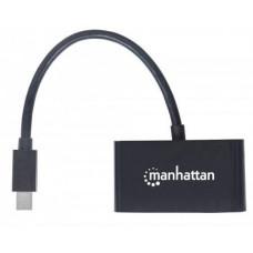 Manhattan 2-in-1 4K Mini DisplayPort Adapter, Mini DP Male to HDMI/VGA Female, Passive, Black