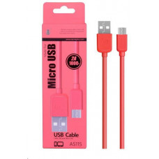 PLUS datový a nabíjecí kabel AS115, konektor micro USB, červená