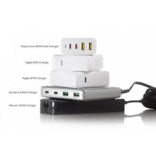 HYPER uice 100W GaN nabíjecí adaptér s 2x USB-C a 2xUSB 3.0 včetně cestovních redukcí