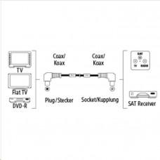 Hama anténní kabel vidlice-zásuvka, kolmé konektory, 95 dB, 3*, 1,5 m