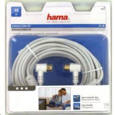 Hama anténní kabel vidlice-zásuvka, kolmé konektory, 95 dB, 3*, 10 m
