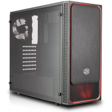 COOLER MASTER case Cooler Master MasterBox E500L, červený rámeček + LED ventilátor