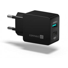 Connect IT Fast Charge nabíjecí adaptér 1xUSB-A + 1xUSB-C, 3,4A, černý