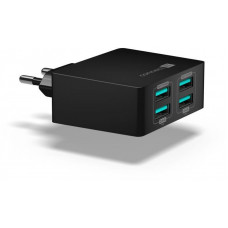 Connect IT Fast Charge nabíjecí adaptér 4×USB-A, 4,8A, černý