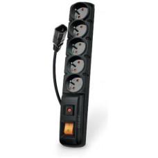 PremiumCord Acar F5 IEC 5m kabel, 5 zásuvek, přepěťová ochrana, C14 do UPS, černý