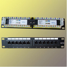 "FULL Patch panel 10"" UTP cat6, 12portů"