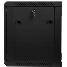 LANBERG Nástěnný rack 19'' 9U 600X450mm černý flat pack