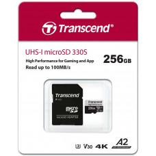 Transcend 256GB microSDXC 330S UHS-I U3 V30 A2 (Class 10) paměťová karta (bez adaptéru), 100MB/s R