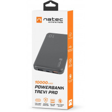 NATEC Trevi Pro Power banka 10 000mAh Quick Charge 3.0, černá, 1x Type-C, 2x USB