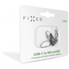 FIXED Redukce FIXED z USB-C na microUSB, černá