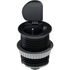 Solight USB vestavná zásuvka s víčkem, 1 zásuvka, plast, kruhový tvar, prodlužovací přívod 1,5m, 3x