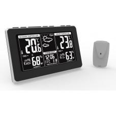 Solight meteostanice, extra velký LCD displej, teplota, vlhkost, RCC, černá, stříbrná, teplotní