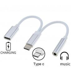 PREMIUMCORD Převodník USB-C na audio konektor jack 3,5mm female + USB typ C konektor pro nabíjení