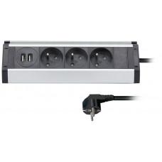 Solight prodlužovací přívod, 3 zásuvky + 2X USB, 1,5m, 3 x 1mm2, hliník, rohový design