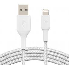 BELKIN kabel oplétaný USB-A - Lightning, 3m, bílý