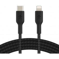 BELKIN kabel oplétaný USB-C - Lightning, 2m, černý