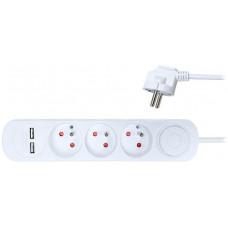 Solight prodlužovací přívod, 3 zásuvky, USB 2.4A, bílý, 3 x 1mm2, vypínač, 2m