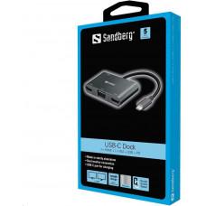 Sandberg USB-C Dock 2xHDMI+1xVGA+USB+PD