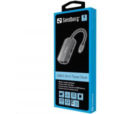 Sandberg USB-C 6-in1 Travel Dock, HDMI+SD+USB+jack+RJ45+USB-C(100W)
