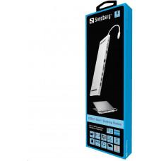 Sandberg USB-C 10v1 dokovací stanice, HDMI+3xUSB+RJ45+VGA+TF/SD+jack+USB-C(100W), stříbrný