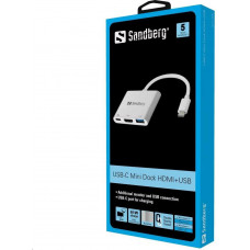 Sandberg mini HUB USB-C -> HDMI + USB (OTG), stříbrná