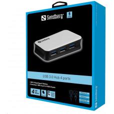 Sandberg USB 3.0 HUB, porty 4, stříbrná
