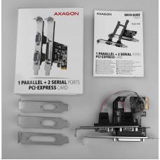 AXAGON PCEA-PSN, PCIe řadič - 1x paralelní (LPT) + 2x sériový port (RS232) 250 kbps, vč. LP