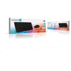 Connect IT Combo bezdrátová černá klávesnice + myš, (+1x AAA +1x AA baterie zdarma), CZ + SK layout