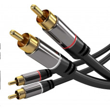 PremiumCord HQ stínený kabel 2x CINCH-2x CINCH M/M 3m