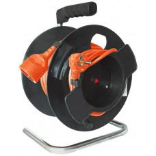 Solight prodlužovací přívod na bubnu, 1 zásuvka, 25m, oranžový kabel, 3x 1,5mm2