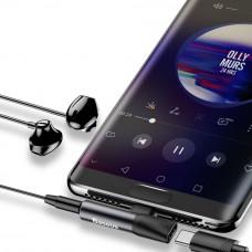 Baseus audio rozbočovač L41 s koncovkami USB-C samec / USB-C samice /3,5mm Jack samice, černá
