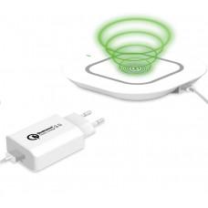 Celly bezdrátová nabíječka včetně kabelu a nabíječky, bílá