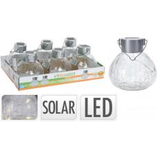 lampa solární pr.11cm 5LED, nerez, závěsná, čirá, popraskané sklo