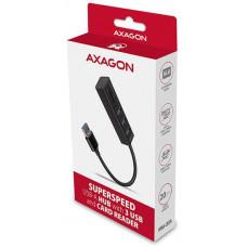 AXAGON HMA-CR3A, USB 3.2 Gen 1 hub, porty 3x USB-A + čtečka karet SD/microSD, kovový, kabel USB-A