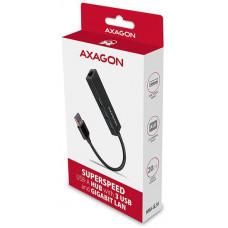 AXAGON HMA-GL3A, USB 3.2 Gen 1 hub, porty 3x USB-A + Gigabit Ethernet, kovový, kabel USB-A 20cm