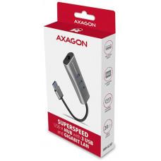 AXAGON HMA-GL3AP, USB 3.2 Gen 1 hub, porty 3x USB-A + Gigabit Ethernet, kovový, micro USB nap.