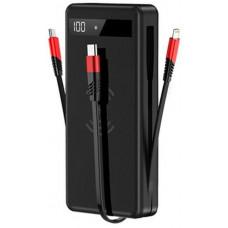 Baseus Bezdrátová Power Banka 4v1 Lightning + Micro USB + Type-C PD červená/černá