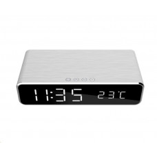 GEMBIRD Digitální budík s funkcí bezdrátového nabíjení, silver DAC-WPC-01-S