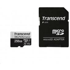 Transcend 256GB microSDXC 340S UHS-I U3 V30 A2 3D TLC (Class 10) paměťová karta (s adaptérem)
