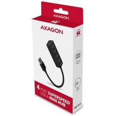 Axagon HUE-M1A, 4x USB 3.2 Gen 1 MINI hub, kovový, kabel USB-A 20cm